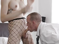 Chad drives his cock into Casey`s ass working her hot hole while she moans her delight. They fuck in several positions until Chad shoots his load all over Casey stunning body.