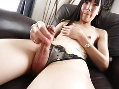 Transgirl Yui Kawai is a stunning Grooby girl with a hot well toned body, a great ass and a sexy hard cock! Watch this hot tgirl shaking her ass in stockings and stroking her hard cock!